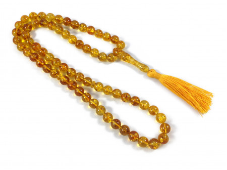 LEMON AMBER ISLAMIC 66 ROSARY BEADS 10MM