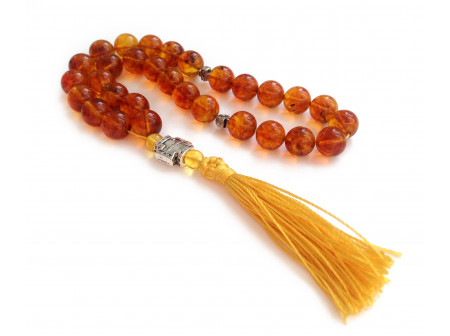 "Amber Rosary Beads: ""cognac"" color"
