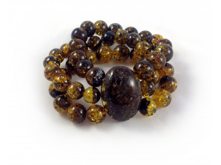 Stretchy Bracelet With Half Polished Amber Beads