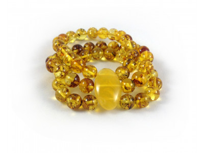 Triple Stretchy Bracelet With Amber Beads: 10mm