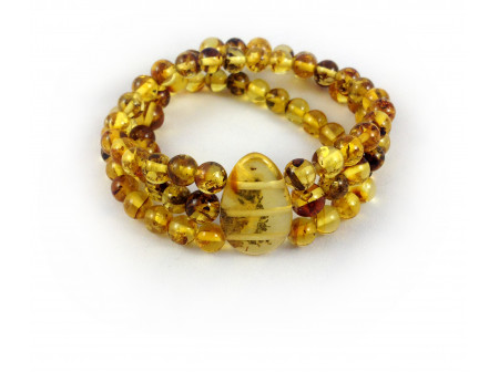 Triple Stretchy Bracelet With Amber Beads: 7mm