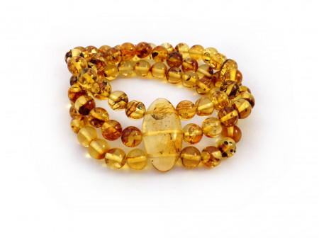 TRIPLE AMBER STRETCHY BRACELET WITH INSECTS 8mm