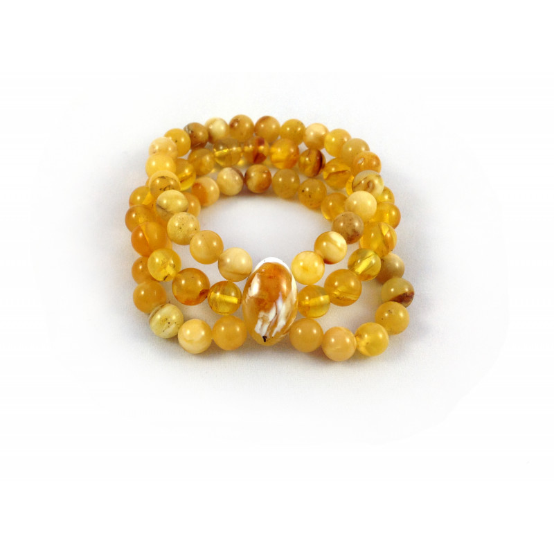TRIPLE AMBER STRETCHY BRACELET 8mm
