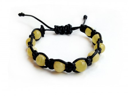 Amber & Leather Shamballa Bracelet