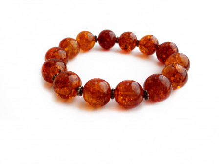Stretchy Bracelet With Cherry Amber Beads: 13mm