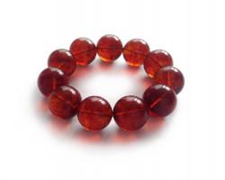 Cherry Amber Bead Bracelet: 19mm