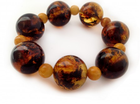 Amber Bracelet With Multicolor And Yellow Beads