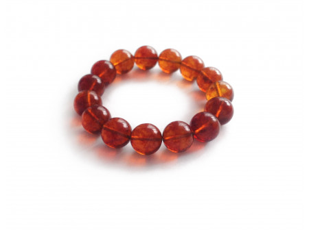 Bracelet With Cherry Amber Beads: 13mm