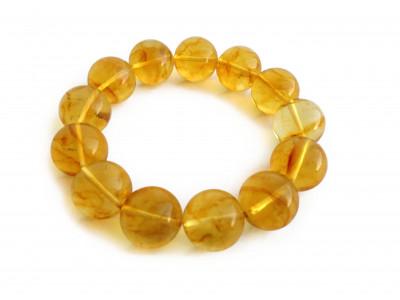 Stretchy Bracelet With Lemon Amber Beads: 15mm