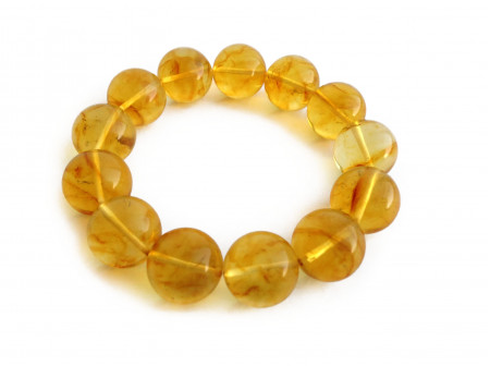 Stretchy Bracelet With Lemon Amber Beads: 15mm