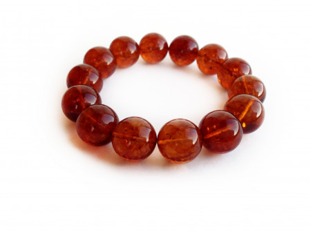 AMBER CHERRY BEAD BRACELET 15mm