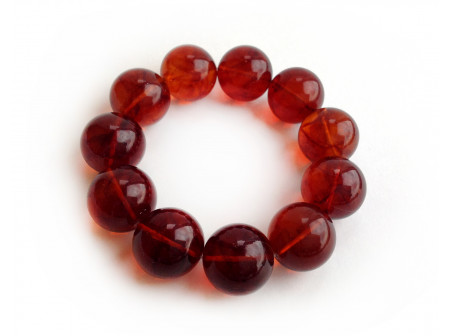Stretchy Bracelet With Cherry Amber Beads: 20mm