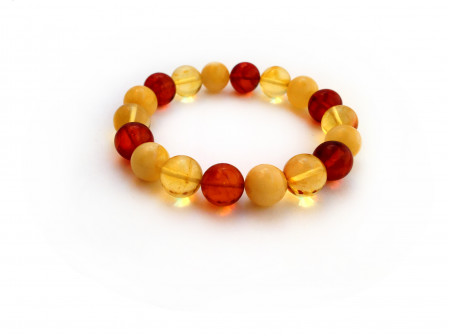 MULTICOLOR AMBER BEAD BRACELET 11mm