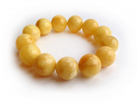 PRESSED ROYAL WHITE AMBER BEAD BRACELET 16mm