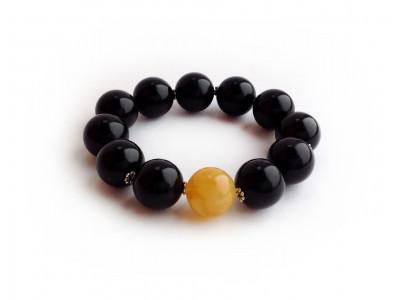 """Yin Yang"" Amber Bracelet: 16mm"