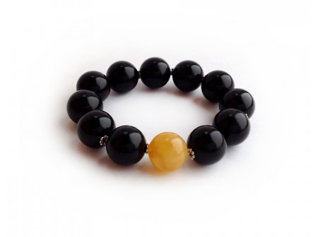 BLACK & YELLOW AMBER BRACELET 16mm