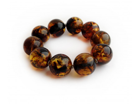 MULTICOLORED AMBER BRACELET WITH METAL FLOWERS 22.5mm