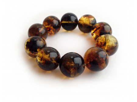 MULTICOLORED AMBER BRACELET WITH BIG ROUND BEADS 22.5mm
