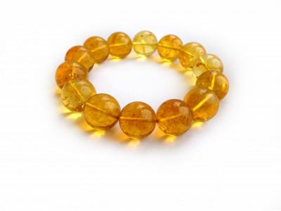 Stretchy Bracelet With Lemon Amber Beads: 14mm