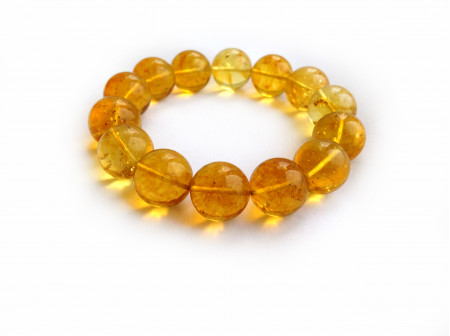 Stretchy Bracelet With Lemon Amber Beads: 14mm