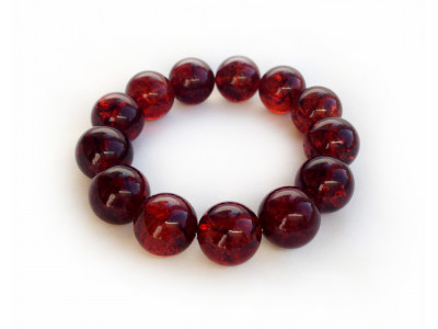 Dark Cherry Amber Bead Bracelet 15mm