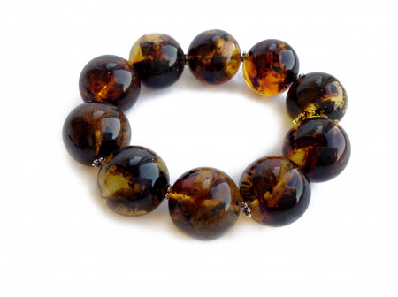 MULTICOLORED AMBER BRACELET WITH METAL FLOWERS 20mm