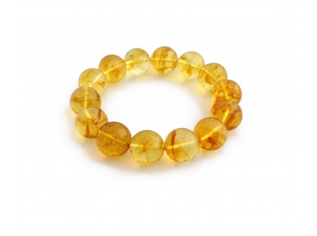 Stretchy Bracelet With Lemon Amber Beads: 14.5mm