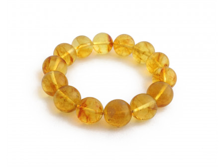 Stretchy Bracelet With Lemon Amber Beads: 13mm