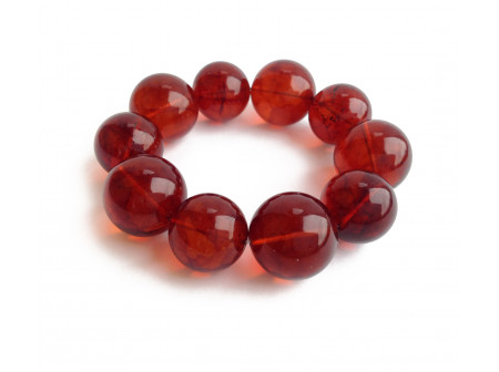 Stretchy Bracelet With Cherry Amber Beads: 20mm and 22mm