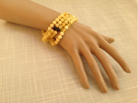 Long Amber Beaded Wrap Bracelet