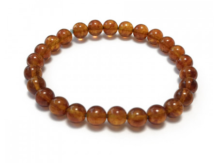 Stretchy Bracelet With Small Amber Beads: Cherry Color
