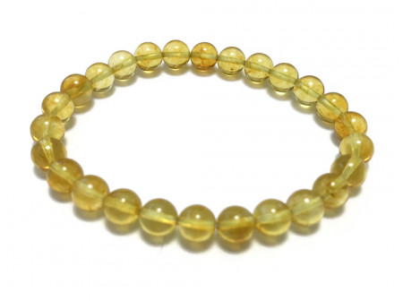 Stretchy Bracelet With Small Amber Beads: Lemon Color