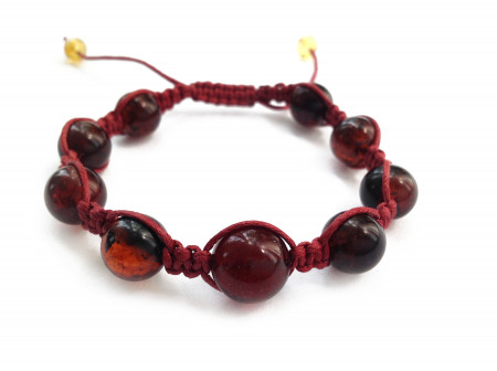 Shamballa Bracelet With Cherry Amber Stones