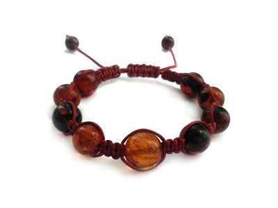 Shamballa Bracelet With Cherry Amber Beads