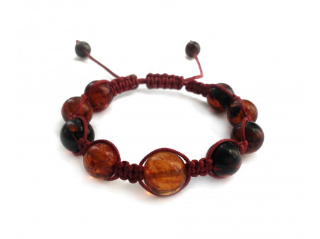 Shamballa Bracelet With Cherry Amber Beads