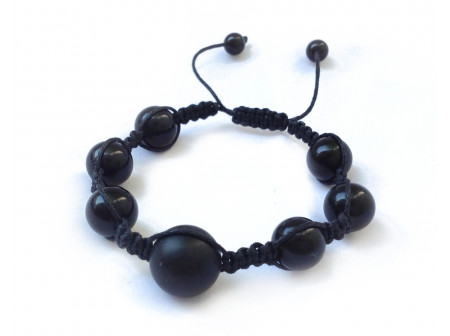 Shamballa Bracelet With Black Amber