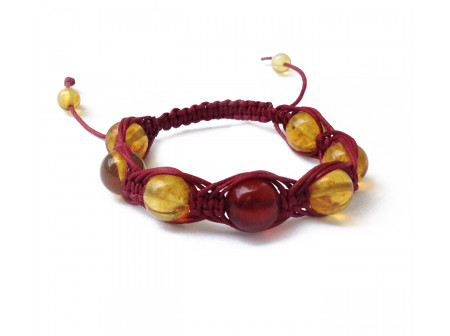 Shamballa Bracelet With Cherry And Lemon Amber