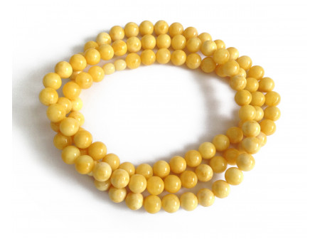 Long Wrap Necklace With Pressed White Amber Beads