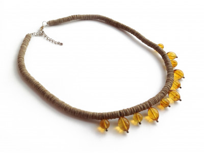 Leather Necklace with Amber Beads Olive Shape
