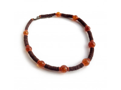 Leather Necklace with  Amber Beads