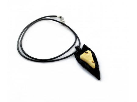 Triangular Medallion With White Amber Insert