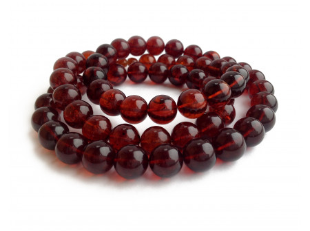 Cherry Amber Long Necklace: Beads 14mm