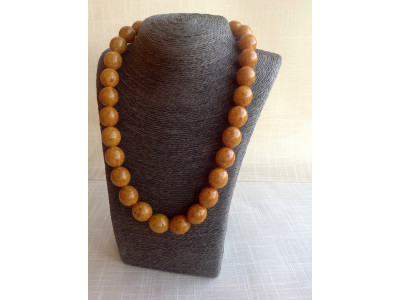 Necklace With Brown Pressed Amber