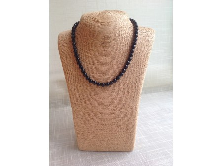 Necklace With Dark Cherry Amber Beads: 8mm