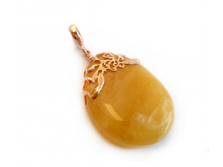 Filigree Pendant With Yellow Teadrop Amber