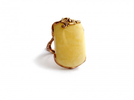 ADJUSTABLE SQUARE AMBER RING