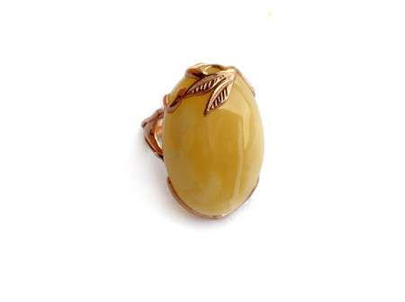 Adjustable Size Ring With Amber Stone