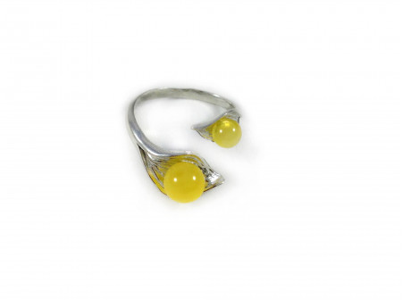 ADJUSTABLE SILVER RING WITH TWO YELLOW AMBER BEADS