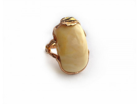 GOLD PLATED SILVER RING WITH AMBER INSERT: 18size
