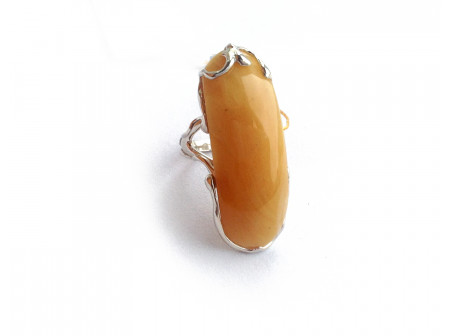 Gold Plated Silver Ring With Amber Insert: 18 size